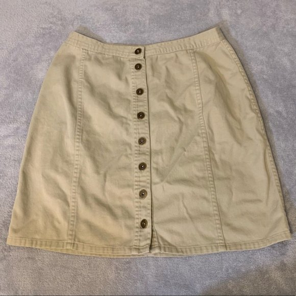Christopher & Banks Dresses & Skirts - Christopher & Banks Khaki Button Up Skirt EUC